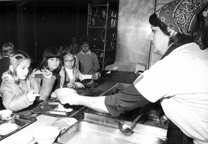 Hungry youngsters at the Munich American Elementary School, 1981.