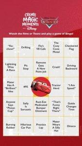 Cars Bingo Card 1