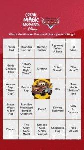Cars Bingo Card 2