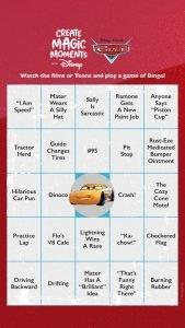 Cars Bingo Card 3
