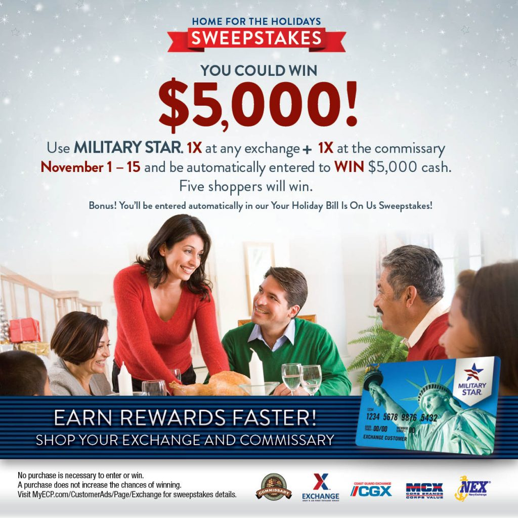 "MILITARY STAR ""Home For The Holidays"" Sweepstakes"