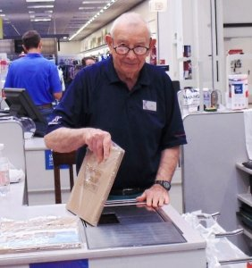 Today, Jack Goldman, serves the military community as a cashier at the Panzer Exchange.