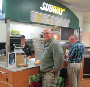 Cheyenne Mountain Air Force Station customers enjoy lunch at the Exchange Subway cart.