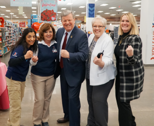 Director/CEO Tom Shull and the West Point Exchange team are primed for success in 2018 during a recent visit. From left: West Point Exchange Store Manager Urvi Acharya, Military Clothing Store Manager Debi Deleno-Dilello; Mr. Shull; General Manager Angela DeRosa; and Region VP Rebecca Santee.