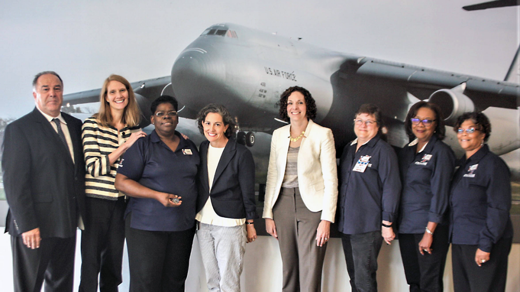 Left to right, Teo Smith, Exchange general manager; Julie Blanks, Principal Director for Military Community and Family Policy; Barbara Taylor – Dover AFB Military Clothing Store Manager; Ann Thomas Johnston, Deputy Assistant Secretary of Defense for Military Community and Family Policy; Karin Orvis, Director, Transition to Veterans Program Office; Exchange department managers Lisa Cain, Yvette Copeland and Yvette Russell.
