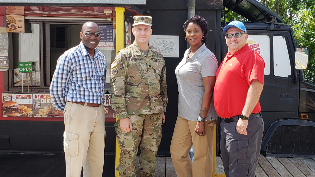 LTC Vernon Jakoby and his inspectors, Will Davis, Yvette Baptiste and Gabe Pierce at Kosovo's Camp Film City.