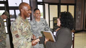 Air Force chief master sergeant meets Ana Middleton.