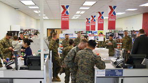 Prior to the opening of the new Express, troops were shopping in a shipping container.