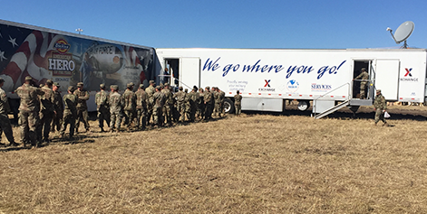 Soldiers queue up to the Exchange's MFE near the Texas border.