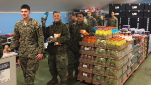 U.S. Marines buy drinks and food at the new Express at their isolated camp in northern Norway.