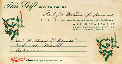 An Army Exchange Service gift card from World War II. The Army Exchange Service became the Army & Air Force Exchange Service in 1948.