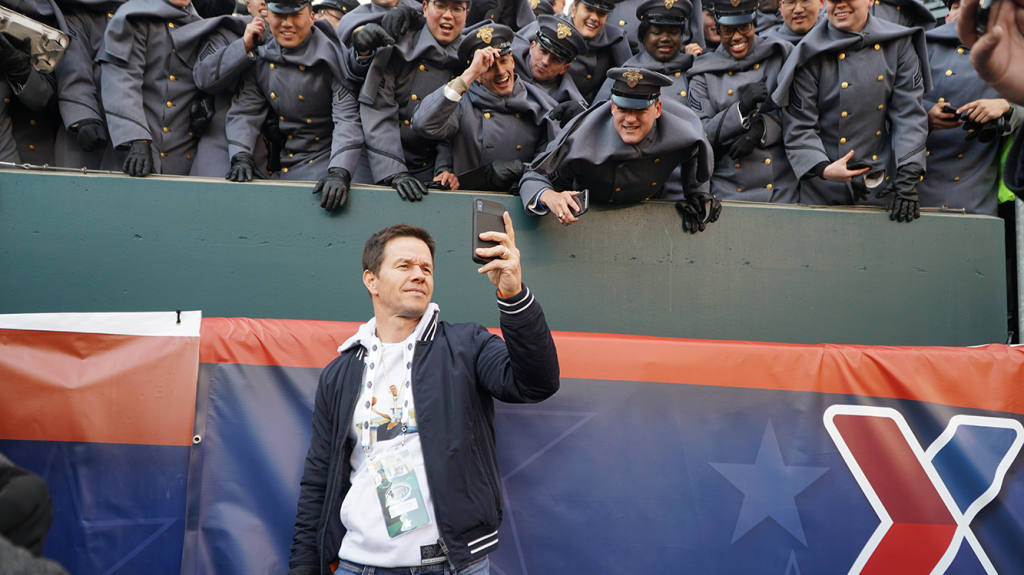 Actor Mark Wahlberg takes a selfie with Cadets.
