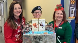 At Whiteman AFB, left to right, Express Shift Manager Melissa Munson; Master Sergeant Melissa Villalobos, 509th Security Forces Squadron Flight Chief; Emma-Jane Cariglio, Express Store Manager.