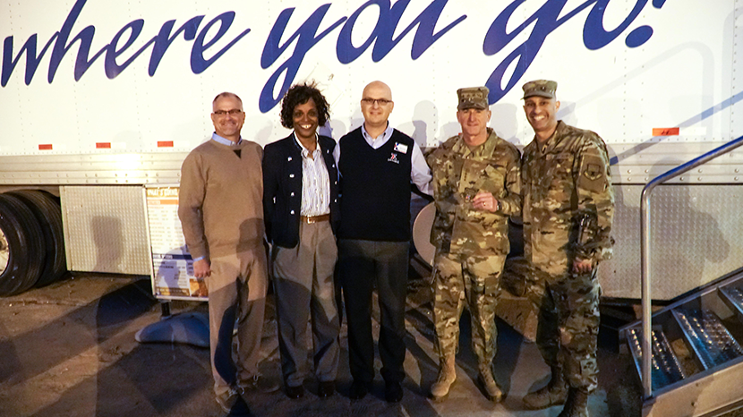 Western Region Vice President; Senior Vice President Shelly Armstrong; Davis-Monthan Exchange GM Mikel Hunter; and Exchange Senior Enlisted advisor CMSgt. Luis Reyes join Gen. David Goldfein, Chief of Staff of the Air Force, at the MFE.