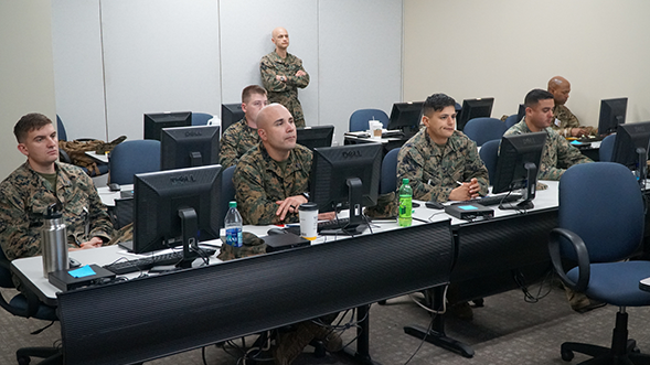 At Exchange headquarters in Dallas, Marines learn about how to run Exchanges before they deploy to run their own stores in Kuwait and Norway.