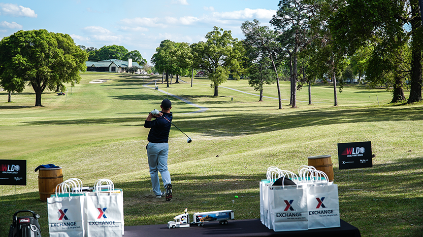 Golfer swings at Fort Benning, Ga.