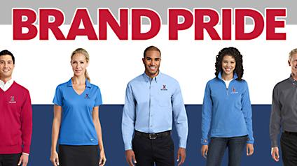 "Exchange associates wearing logo shirts under ""Brand Pride"" headline."