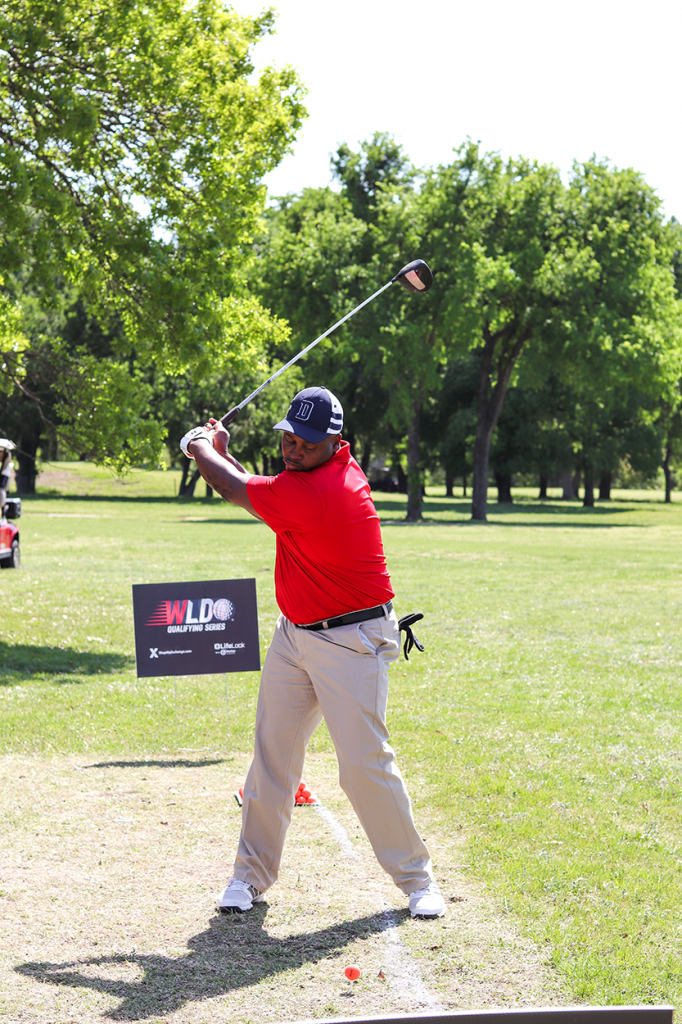Golfer swings at Fort Hood, Texas