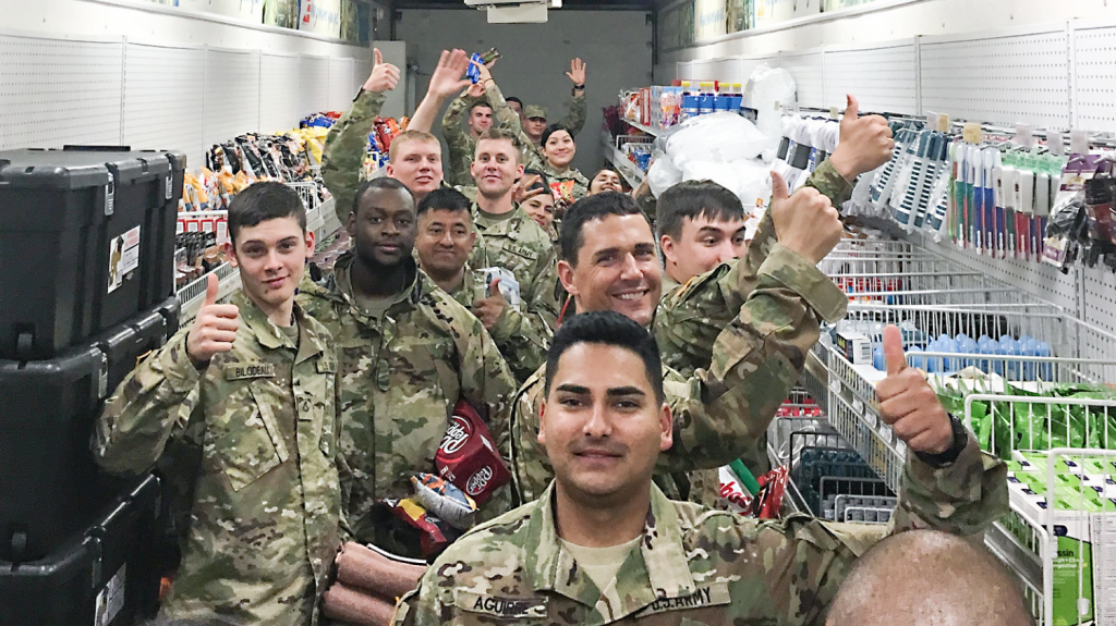 National Guard members and Reservists get necessities from an MFE the Exchange set up in Guatemala.