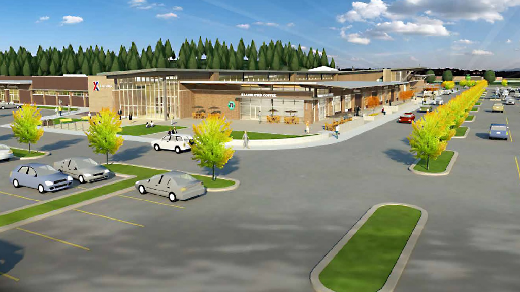 A rendering of the southeast corner of the Joint Base Lewis-McChord Main Exchange shows what the completed expansion and renovation will look like by August 2020.