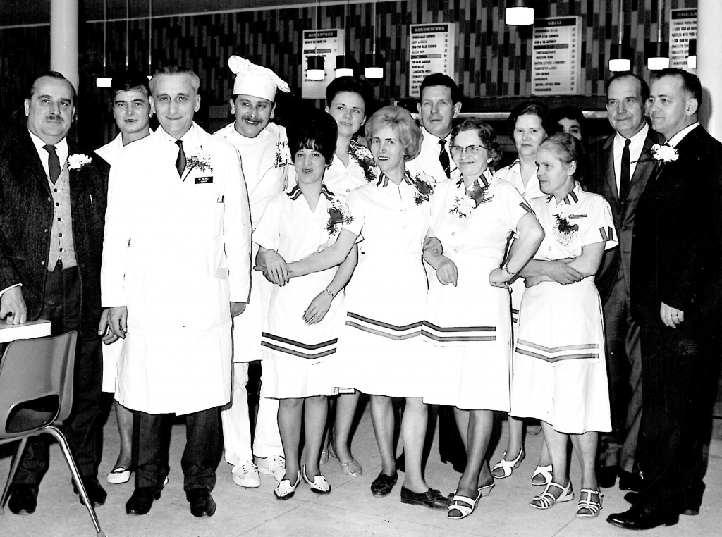 A post exchange's cafeteria workers and managers, possibly in Europe, 1950s.