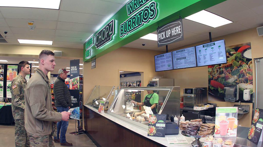 Quick-service restaurants, like this one at Fort Sill, Okla., are giving Express customers many more choices beside candy bars and soft drinks.