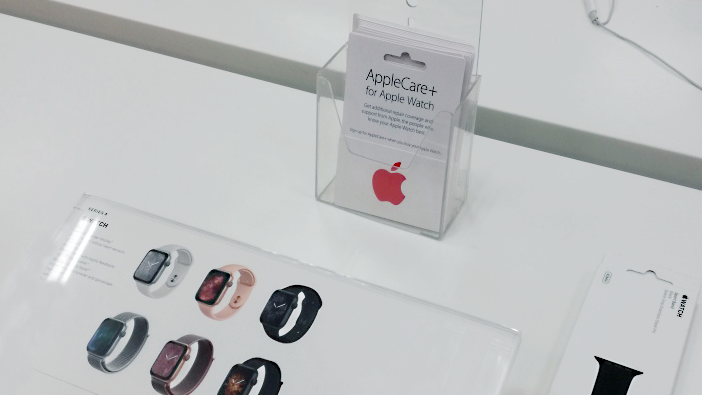At Germany's Grafenwoehr Exchange, AppleCare information will catch the eyes of customers wanting Apple watches.