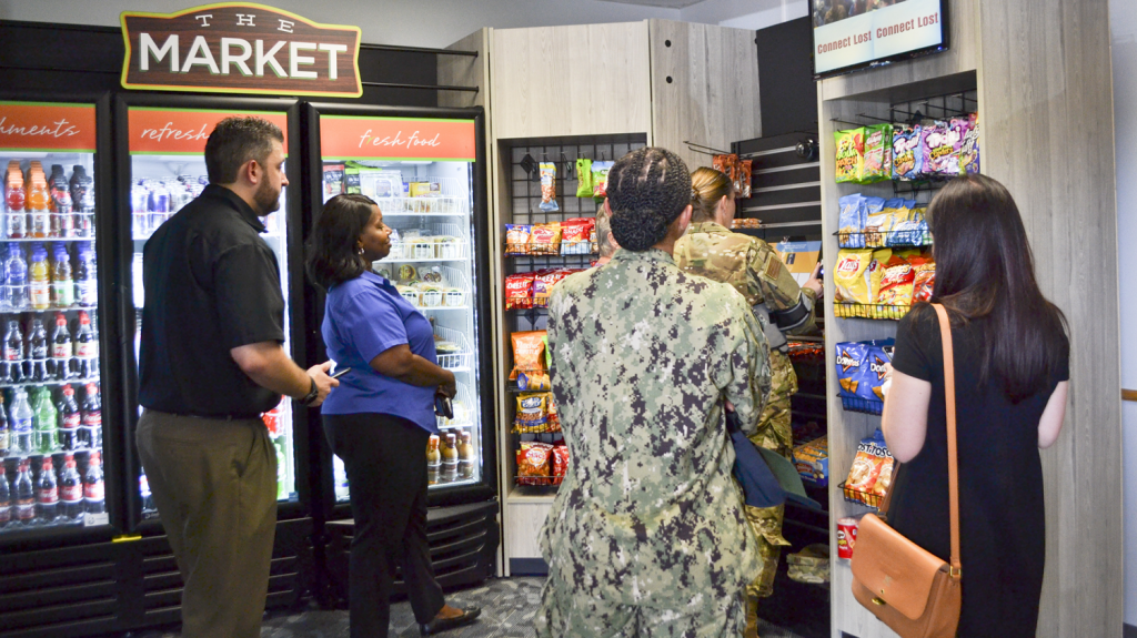 Micro markets, like this one at Tinker AFB, are self-service convenience stores that provide Warfighters 'round-the-clock access to snacks and small meals, including fresh fruit, salads, sandwiches and beverages in line with the Exchange's BE FIT program.