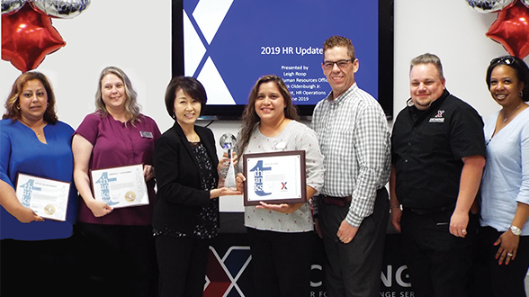 Fort Campbell's HR Office was judged the best of the best for accomplishments in 2018. Left to right, HR Assistants Noriliz Del Rio Rogers and Kimberly Leipheimer; EVP and Chief HR Officer Leigh Roop; Fort Campbell HR Manager Cecilia Luna; Dr. Patrick Oldenburgh, Vice President HR Operations; Regional HR Manager Richard Mora; and Central Region Senior Vice President Marla Smith.