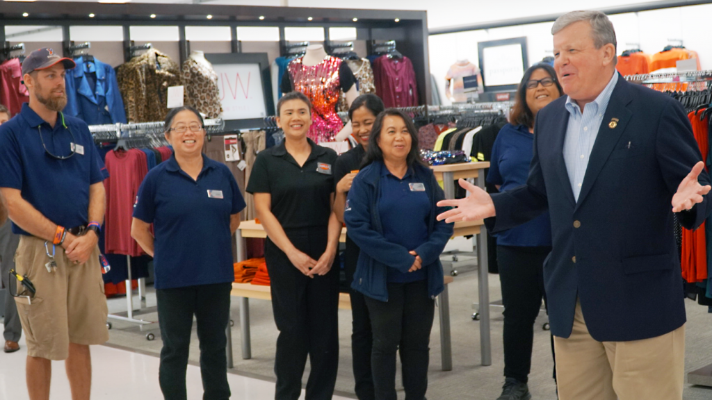 Director/CEO Tom Shull congratulates associates at Tyndall AFB for their work in helping the store and customers through Hurricane Michael.
