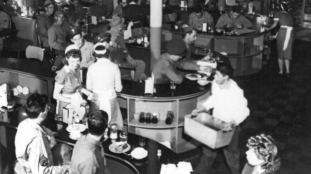 The PX cafeteria, Fort Bliss, Texas, circa 1949.