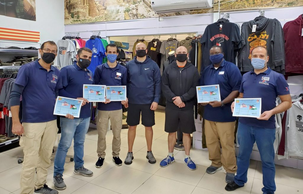 Army & Air Force Exchange Service associates with the Joint Training Center Troop Store in Jordan recently received certificates of appreciation from JTC leadership